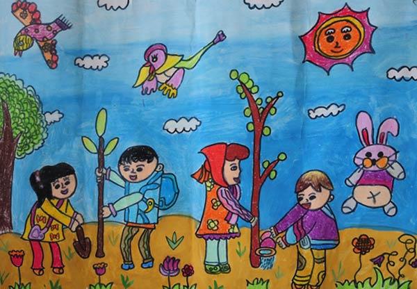 儿童画彩笔画作品:大家来栽树,画画网