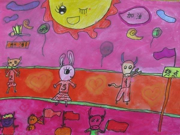 儿童画彩笔画作品:动物运动会