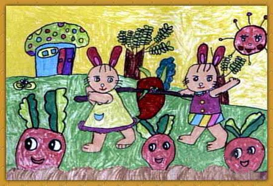 油棒画作品 小白兔收萝卜