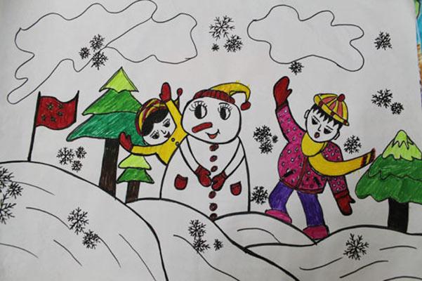 儿童画彩笔画作品 堆雪人的小孩
