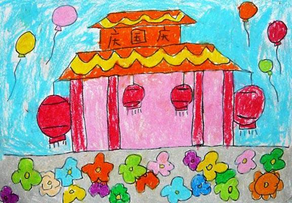 儿童画彩笔画作品:国庆节