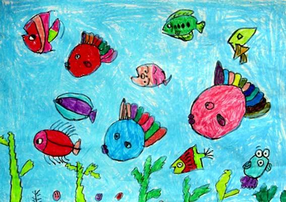 儿童画彩笔画作品 海底小鱼