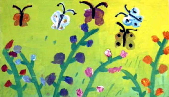 儿童画水粉画作品:蝴蝶花朵