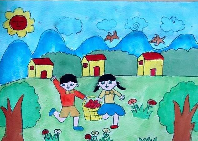 儿童画彩笔画作品:摘水果