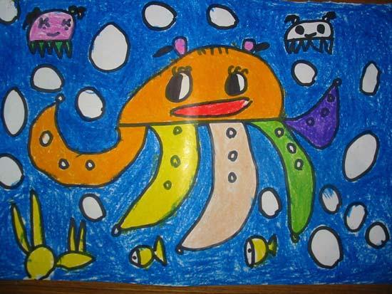 儿童画蜡笔画作品 大章鱼