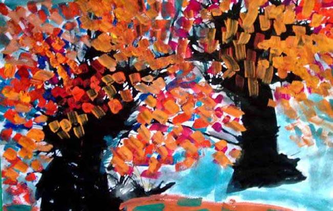 画水粉画作品 秋天来了