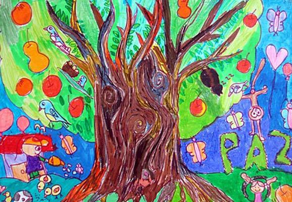 彩笔画作品 很大的果树
