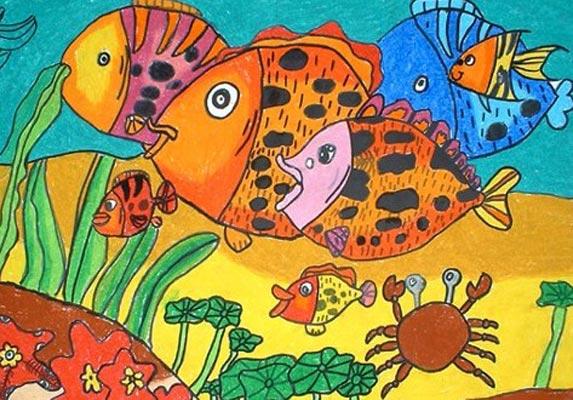 彩笔画作品 美丽的热带鱼
