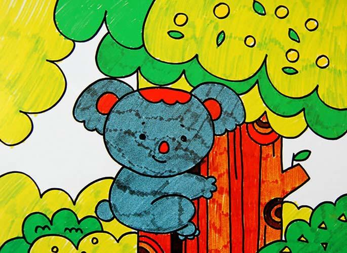 画彩笔画作品 小熊爬树