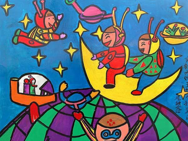 儿童画彩笔画作品 神奇的太空