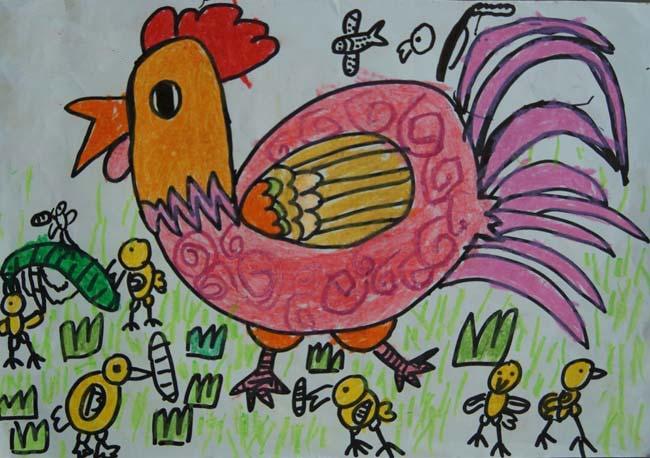 彩笔画作品:可爱的小鸡