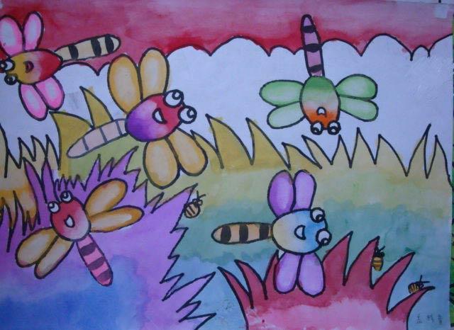 彩笔画作品 快乐的蜻蜓
