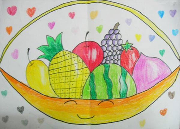 儿童画彩笔画作品 一篮水果
