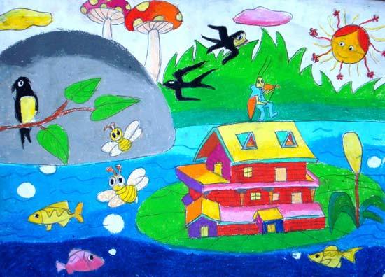 儿童画彩笔画作品:美丽的春天图片