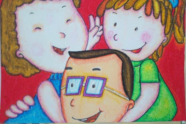 儿童画彩笔画作品 快乐一家人