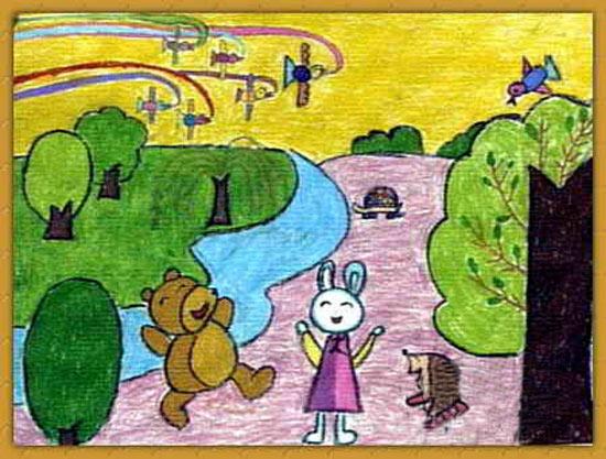 儿童画蜡笔画作品 自然风光