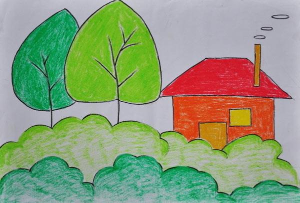 儿童蜡笔画作品 年画