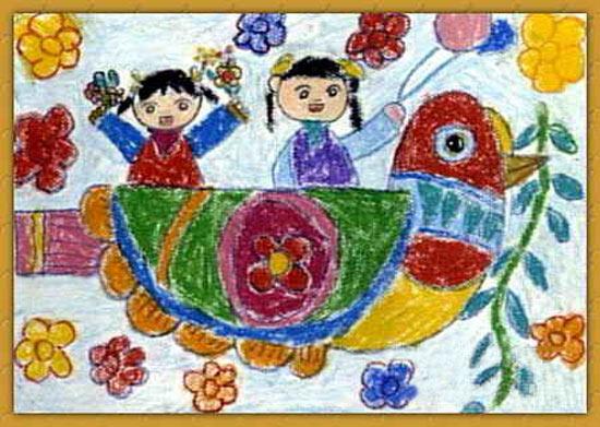 儿童画蜡笔画作品 鸳鸯 船,画画网图片