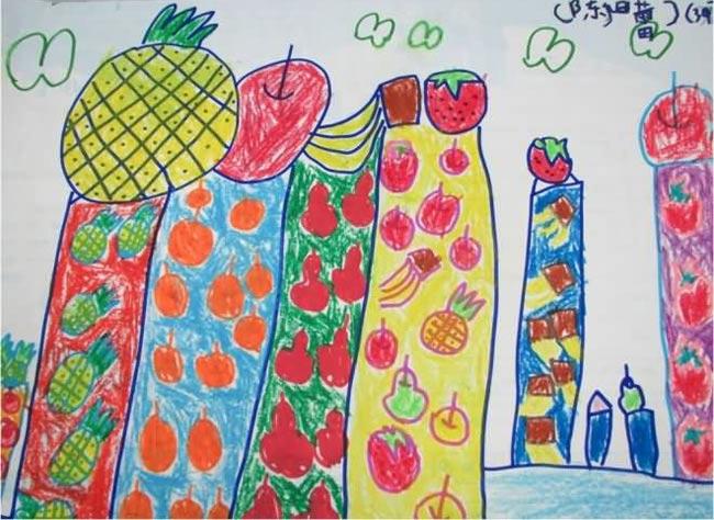 儿童画彩笔画作品 水果楼房