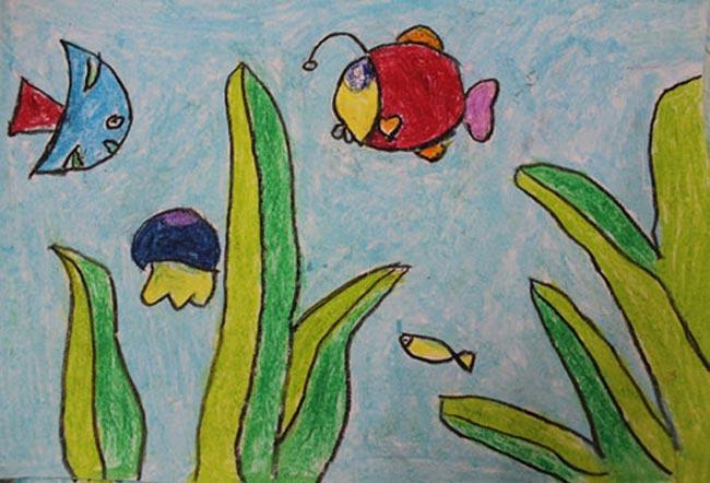 儿童画油棒画作品:海底世界