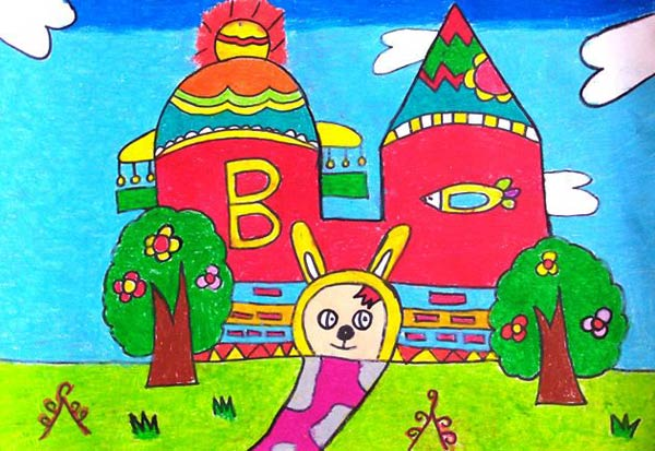 儿童画彩笔画作品:小兔子的家