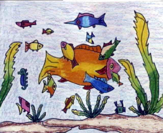 蜡笔画作品 水中的小鱼