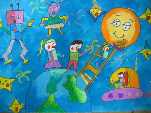 登上月球 儿童彩笔画图片