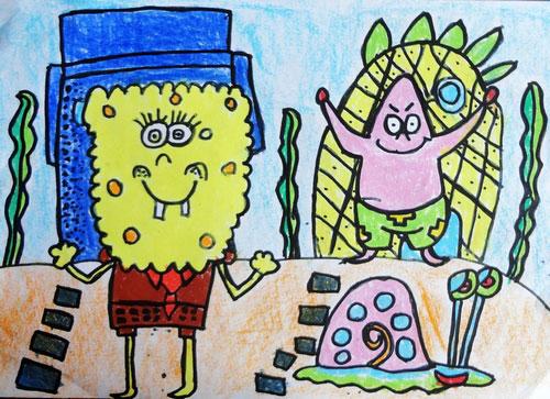 儿童彩笔画图片:可爱的海绵宝宝,画画网图片