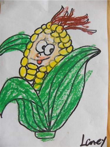 儿童水粉画图片:卡通玉米