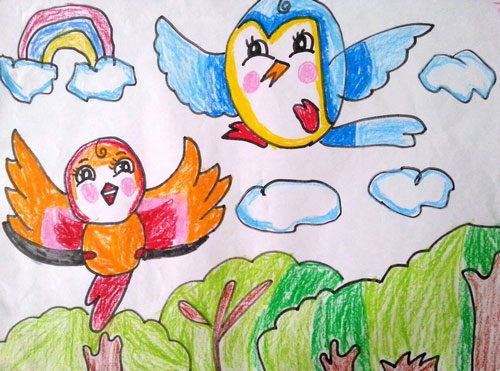 儿童蜡笔画图片:快乐的鸟儿