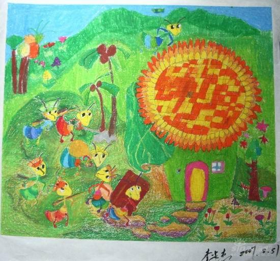 蚂蚁搬家 儿童水粉画图片