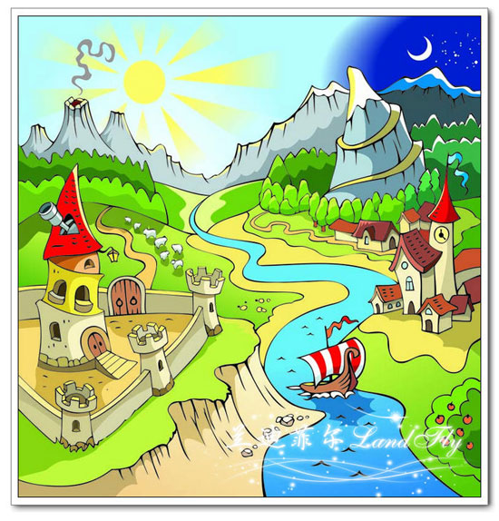 童彩笔画图片 美丽的城堡图片