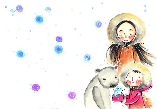 儿童水粉画图片:漂亮的小女孩