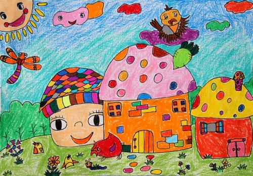 儿童蜡笔画图片:乡村风情
