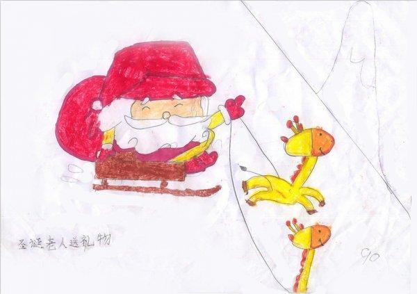 儿童彩笔画图片 圣诞礼物