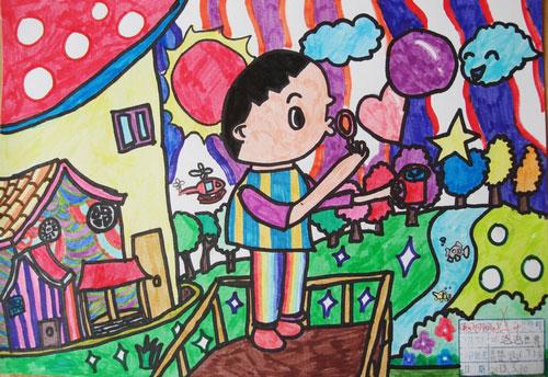 儿童彩笔画图片 淘气的小男孩