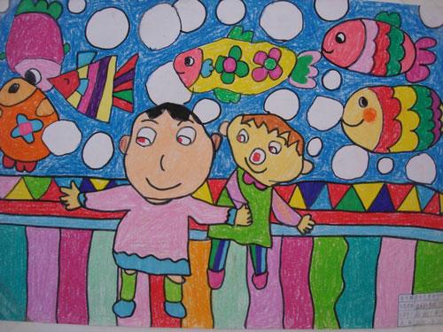 儿童彩笔画图片 天真的童年