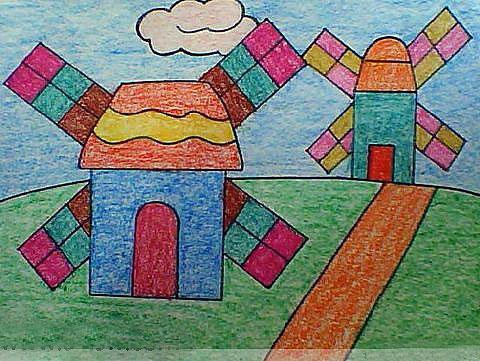 风车小屋 儿童蜡笔画图片