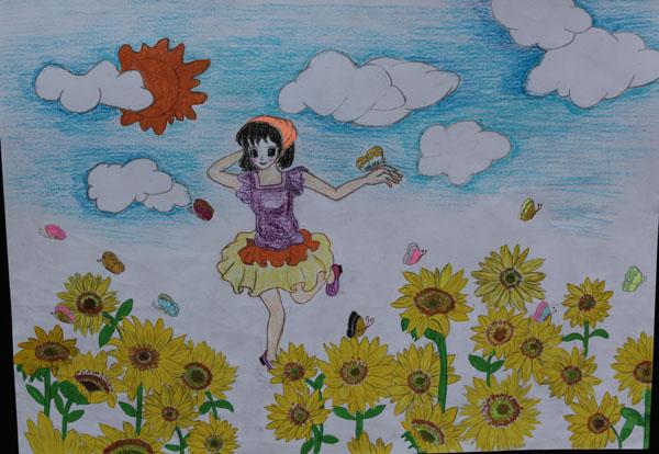 儿童彩笔画图片 夕阳下的女孩