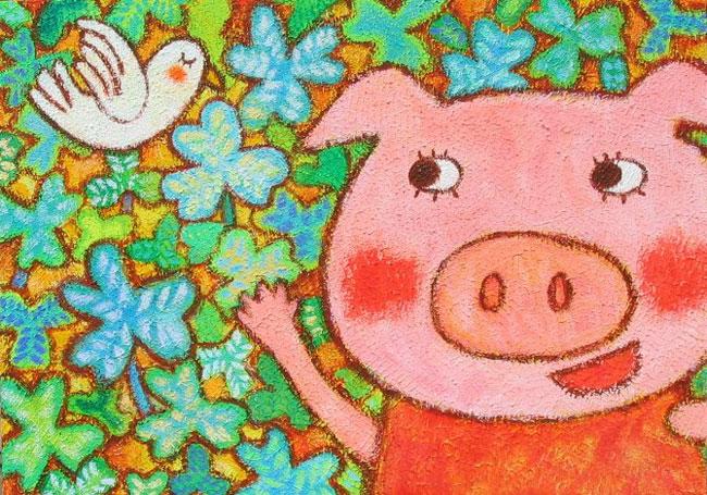儿童水粉画图片:可爱的小猪