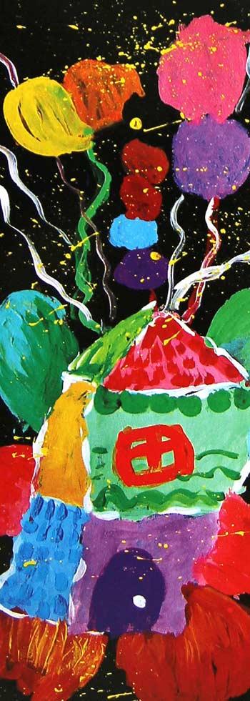 气球与房子_水粉画图片1