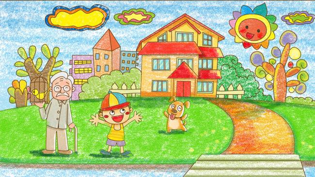 郊外散步 儿童彩笔画图片