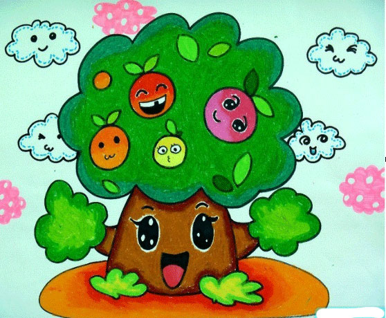 卡通苹果树_儿童彩笔画图片