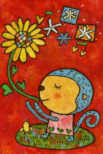 可爱的小猴子 儿童彩笔画图片