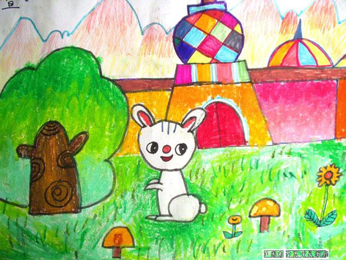 漂亮的城堡和小兔 儿童彩笔画图片图片