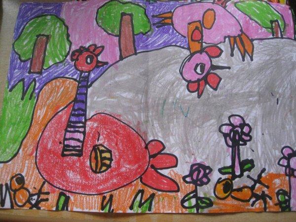 鸡和小鸡 儿童彩笔画图片