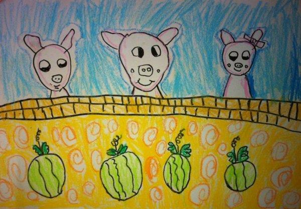 的小猪 儿童彩笔画作品