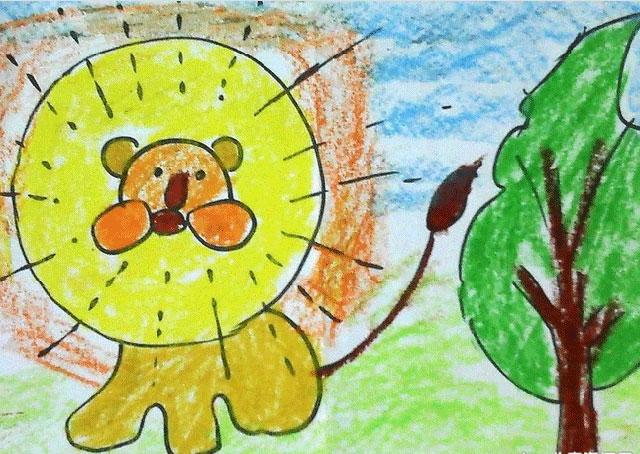 狮子_儿童水粉画图片