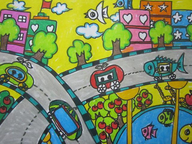 果汽车 儿童彩笔画图片