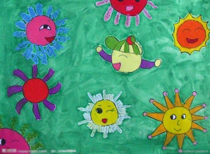 公和宝宝 儿童彩笔画图片